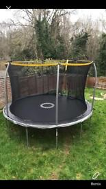 Sports power 12 ft trampoline with folding enclosure