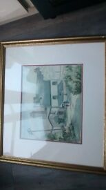 large framed original signed water colour of downderry cornwall 27 inches by 30 inches