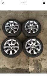 VAUXHALL ASTRA 15 INCH 4 STUD ALLOY WHEELS WITH TYRES ALLOYS SET TYRES: 195/55 15