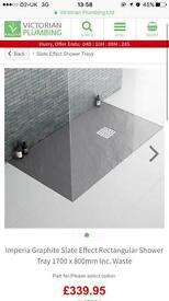 1700x800mm Graphite Slate Effect Stone Shower Tray