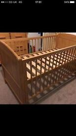 Very good condition oak effect cot bed by Tom foley