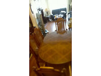 Dining table and 6 chairs (light oak)