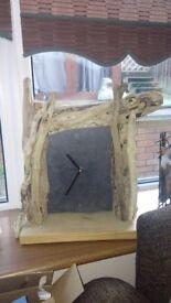 Driftwood and Slate Handmade Wall Clock
