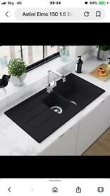 Black granite sink