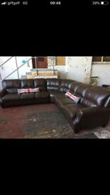 BROWN LEATHER 7 SEATER CORNER SOFA IN EXCELLENT CONDITION FREE LOCAL DELIVERY