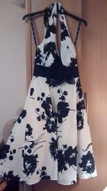 Debenhams evening dress, size 10, white with black flowers, ideal for weddings/ parties