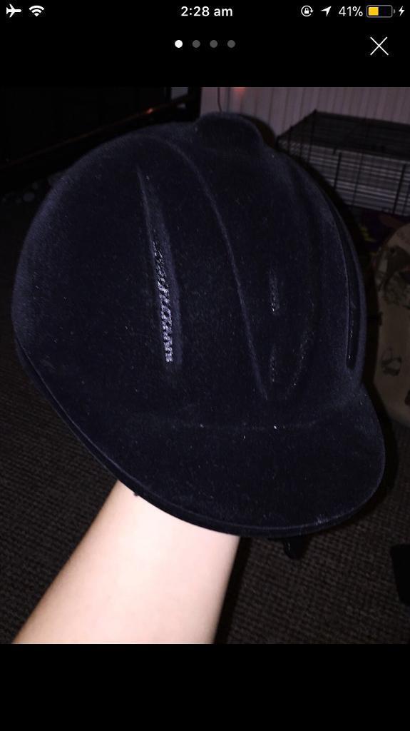 Black velvet adjustable horse riding hat
