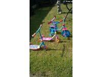 Thomas and friends bike with stabilizers and 2 scooters £10