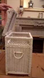 WHITE WICKER CLOTHES BASKET/SMALL DARK BROWN SINGLE SELF UNIT