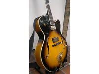 Washburn J-6S Montgomery archtop hollow body electric guitar with quality hard case