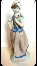 Nadal Rare Limited Edition Retired Farm Girl holding Flowers Porcelain Figurine