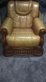 Leather brown sofa and chair