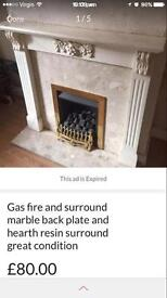 Gas fire surround marble hearth resin surround and back plate
