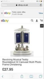 Musical revolving photo frame for new baby christening gift present. New in box