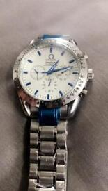 Mens automatic watch blue hands