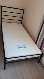 Single bed frame with memory foam mattress