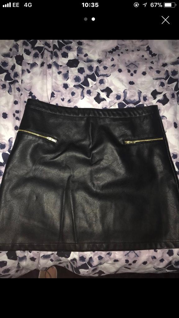 Brand new black leather skirt size 12