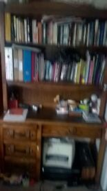 Solid wood desk with shelving £35