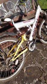 Harlem Altitude Mountain bike, yellow, old, heavy, 18 gear (Shimano), front disc brake, suspension