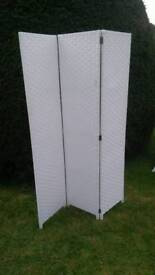 White 3 Panel Screen/Room Divider. Excellent quality. Never used.