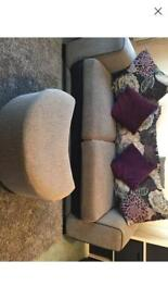 Large 2 seater sofa with foot rest