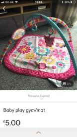 Pink baby play gym/mat with accessories