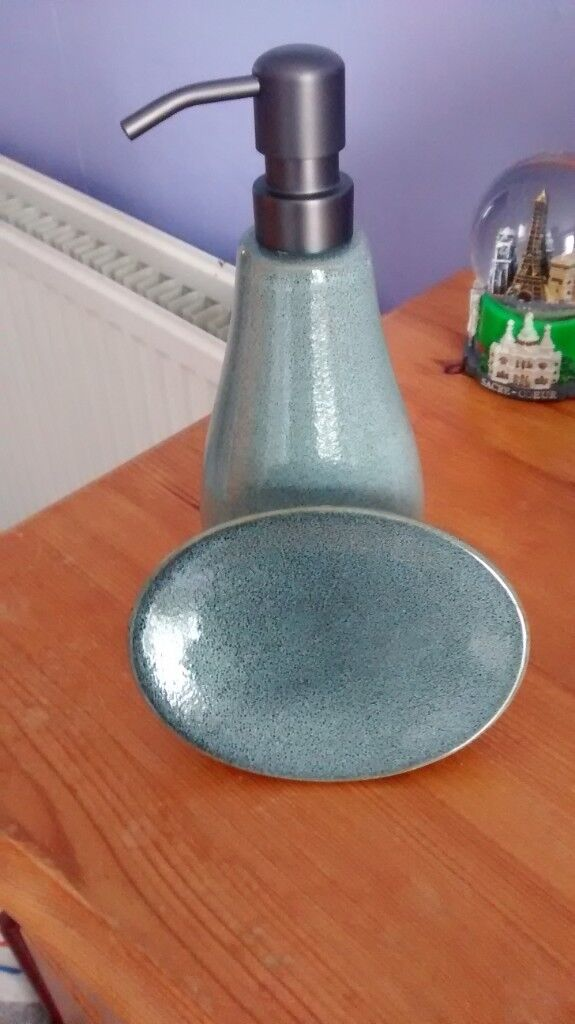 New Grey Liquid Hand Soap Dispenser Dish