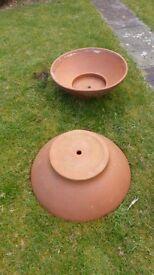 2 Large Terracotta Patio Planters 2 foot Diameter