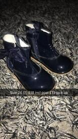 Navy patent boots
