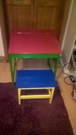 Childs desk and stool