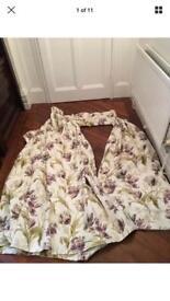 2 X Curtains Laura Ashley Fabric pelmet and tie backs in Gosford plum