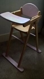 Dolls high chair, wood and pink
