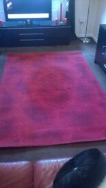 lovely large red rose ingraved rug