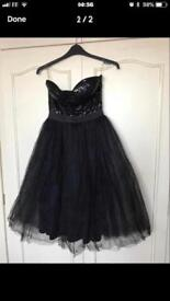 Black strapless evening/prom dress by Rare London size 12