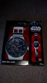 STAR WARS AUTHENTIC DISNEY ROGUE ONE GIANT WATCH WALL CLOCK NEW IN BOX 92CM TALL