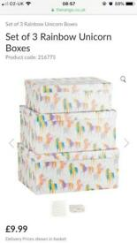 The Range X3 sets of 3 Unicorn Storage Boxes RRP £9.99 each 9 Boxes In Total