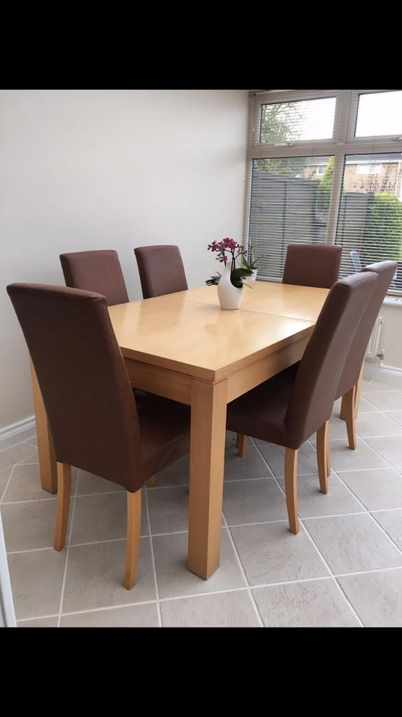 Next Extending Dining Table with 6 Leather Chairsin Welwyn Garden City, HertfordshireGumtree - Dimensions W 90 x L 160 extends to 220cmPlease see images for condition slightly worn but could be re varnished.From a smoke and pet free house