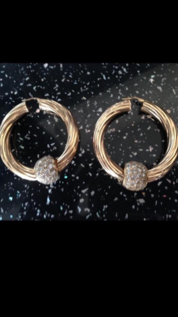 9ct gold solid hoop earrings with 9ct gold CZ ball enhancers must