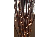 Ikea Tall Vase with Brown Sticks and Stick lights