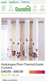 Cream Curtains with plum motif for sale!