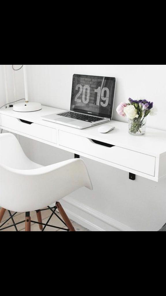 Ikea Wall Mount Desk Shelf With 2 Drawers Floating White
