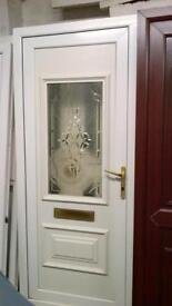 upvc door with frame in good condition 34 1/2 inches wide x 82 inches high call 07498143887