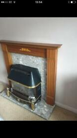 Lovely wooden fire surround, marble heart/ backpanel