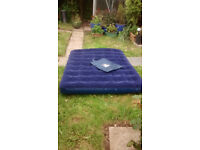 Eurohike Flock Top Double Airbed, L170cm W130cm D14/15cm apx, bag, little use