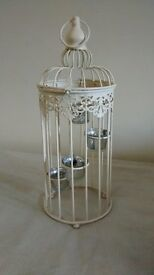 Birdcage tea light candle holder, ivory colour, vintage/romantic/shabby chic