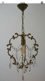 £50 - Vintage French bronze - brass pretty and petite ceiling light/basket chandelier