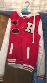 American college style red jacket