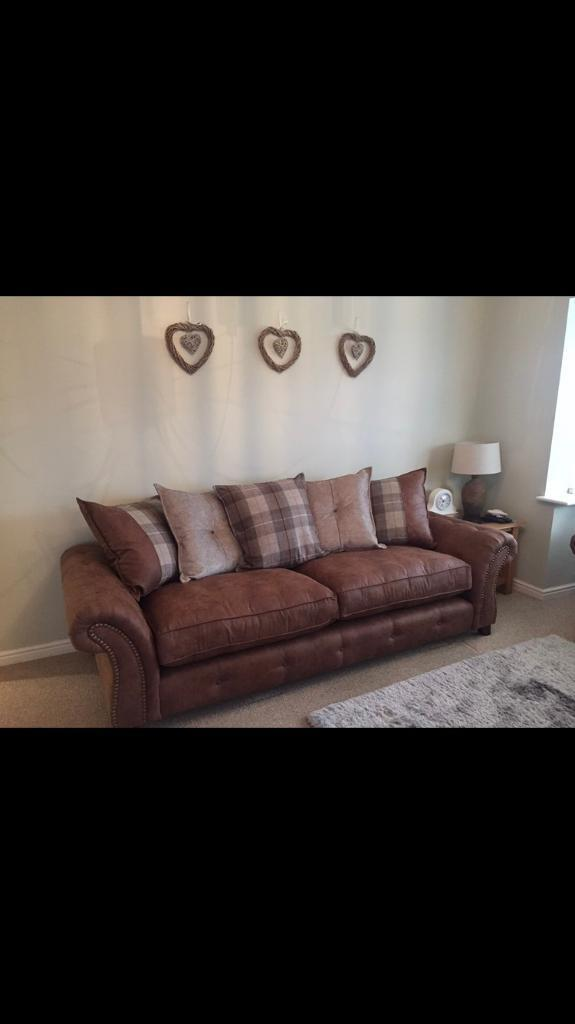 Dfs Brown Suede Scatter Back Sofa Chair Puffy In Edlington