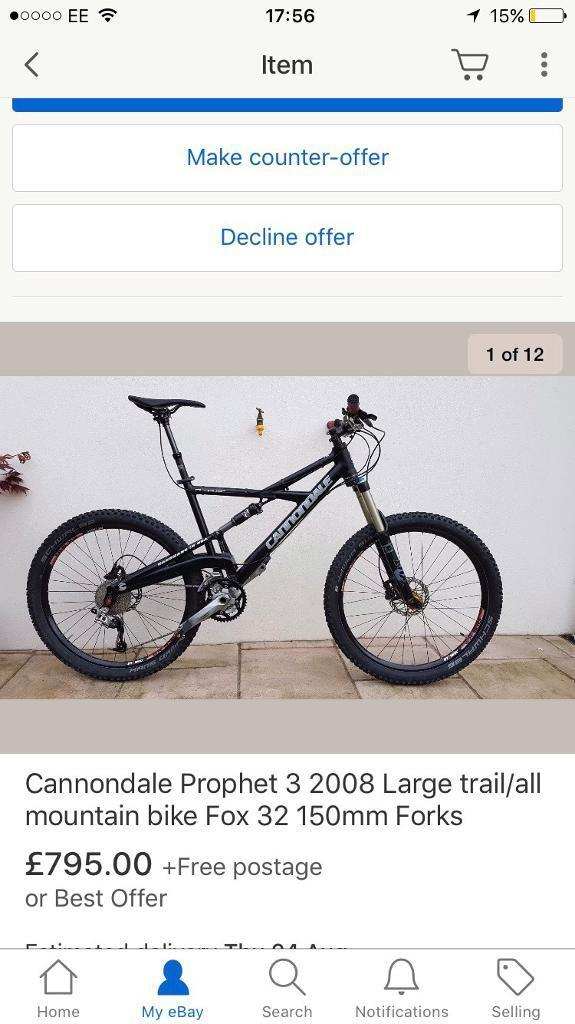 Cannondale prophet 3 large trail/all mountain bike fox 32, 150mm ...