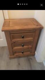 Bedside drawers with black crystal handles